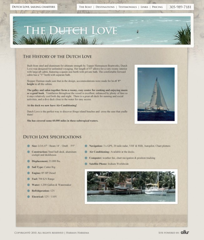 Dutch Love interior page design.