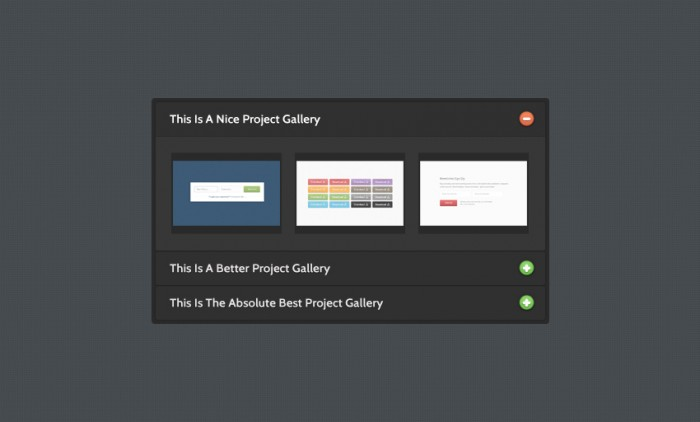 Silky Charcoal jQuery Accordion PSD